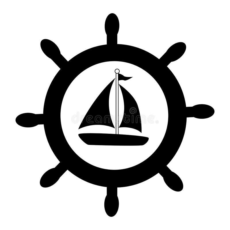 Sylwetki łódkowaty rudder z jachtem royalty ilustracja