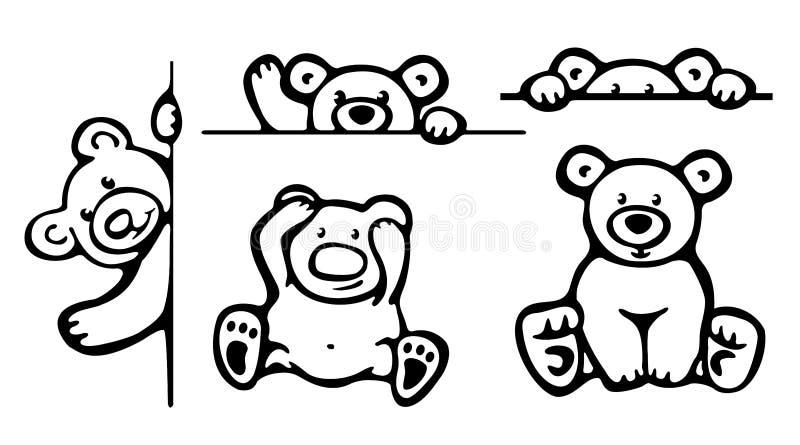 Sylwetki śmieszni niedźwiedzie. ilustracji