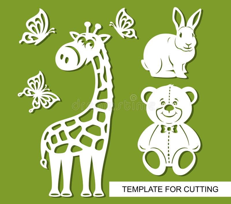 Sylwetki żyrafa, miś, królik i motyle, ilustracji