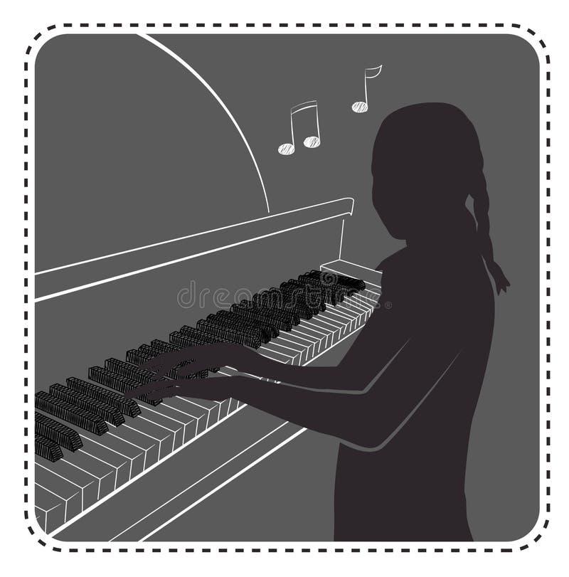 Sylwetki avatar dziewczyny pianino ilustracja wektor