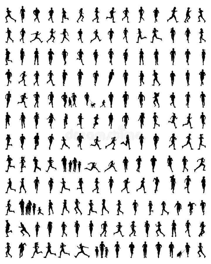Sylwetki biegacze ilustracja wektor