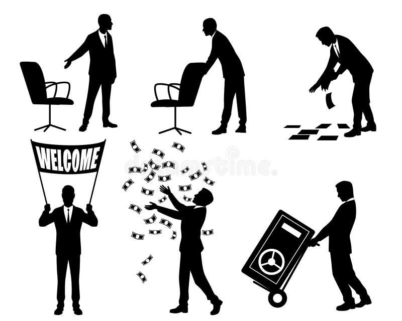 Sylwetki biznesmeni w akci ilustracji