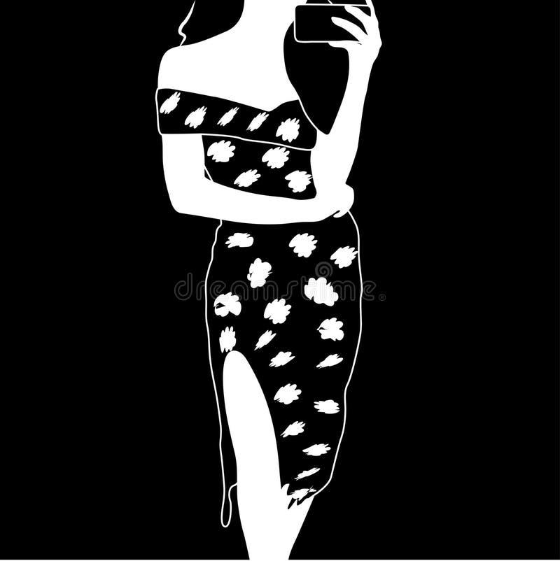 Sylwetki Biznesowa kobieta W lato komórki Smokingowym Używa Mądrze telefonie ilustracji