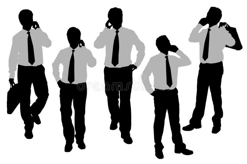 Sylwetki Biznesowi mężczyzna mówi telefon
