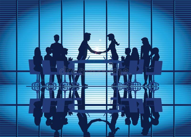 Sylwetki Biznesowy partnerstwo uścisk dłoni ilustracji