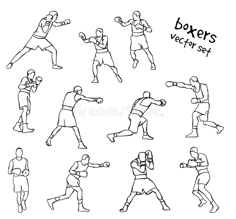 Sylwetki boksery ilustracji