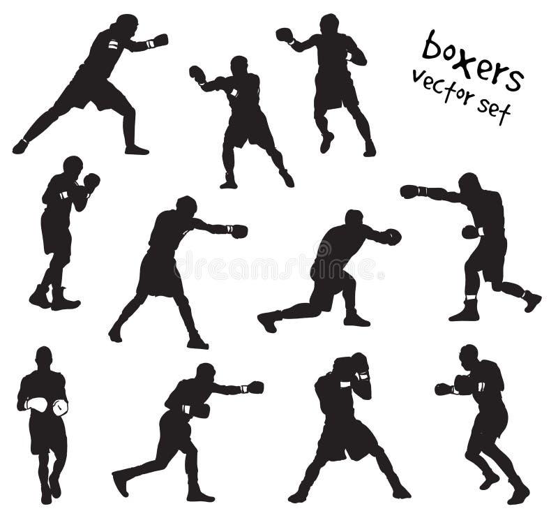 Sylwetki boksery ilustracja wektor