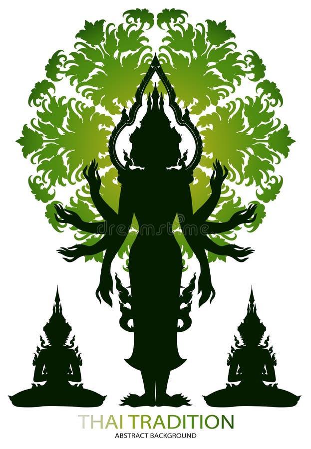 Sylwetki Brahma rama i tajlandzka tradycja royalty ilustracja