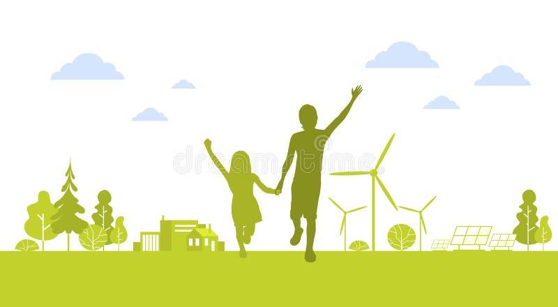 Sylwetki chłopiec dziewczyny bieg mienia Szczęśliwych ręk Zielony miasto Z silnik wiatrowy natury ekologii środowiska Czystym poj royalty ilustracja