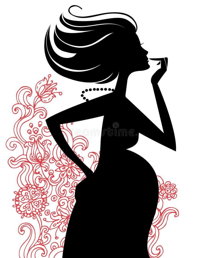 sylwetki ciężarna kobieta ilustracji