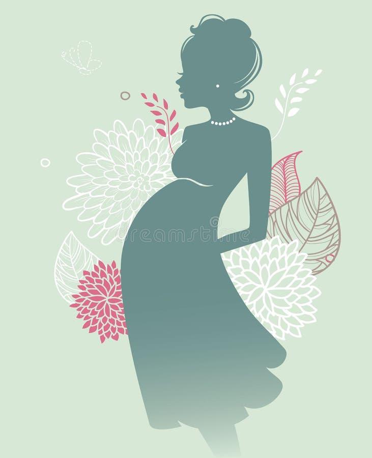 Sylwetki ciężarna kobieta ilustracja wektor