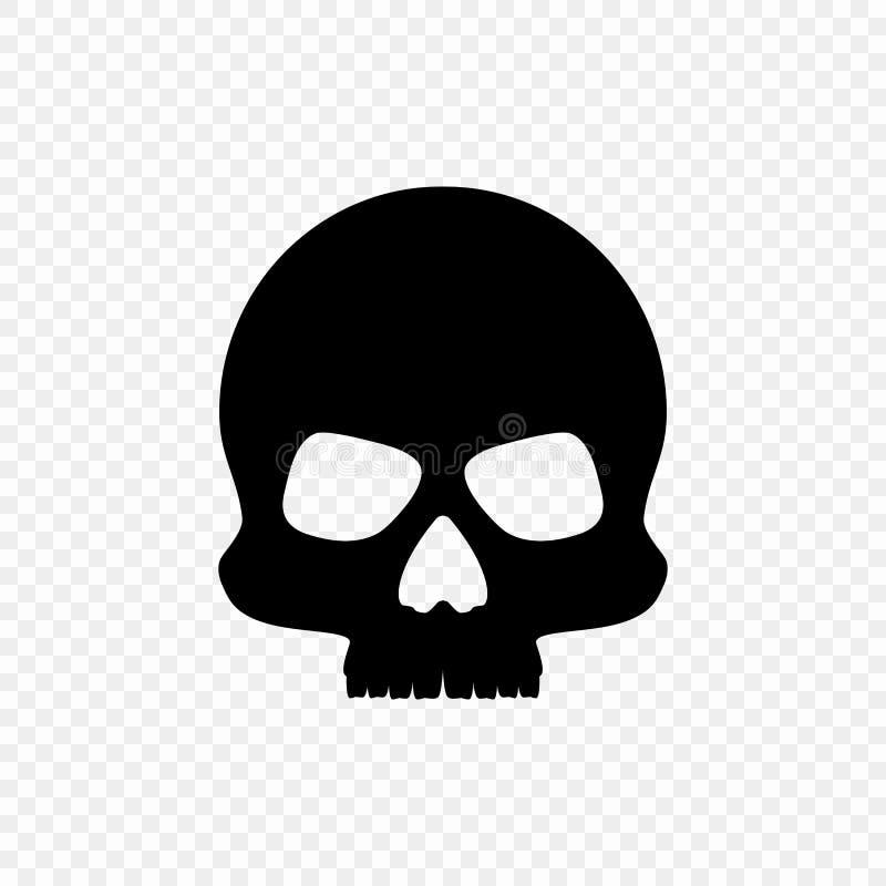 Sylwetki czarna czaszka odizolowywająca na przejrzystym tle Wektorowy element ilustracji