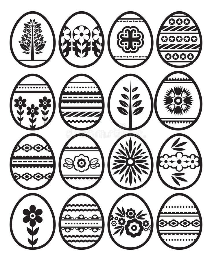 Sylwetki czarni Easter jajka odizolowywaj?cy na bia?ym tle Wakacyjni Wielkanocni jajka dekorowali z kwiatami i li??mi Druku proje ilustracji