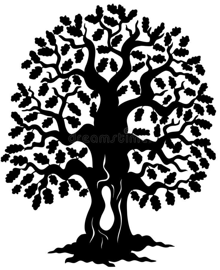 sylwetki dębowy drzewo royalty ilustracja