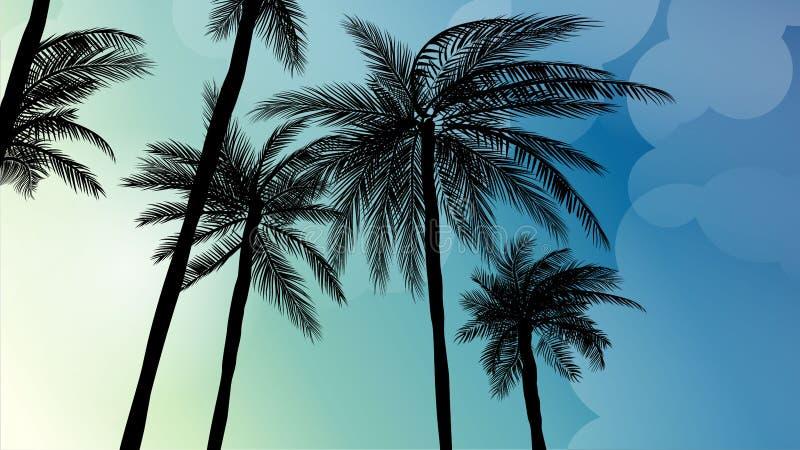 Sylwetki drzewko palmowe w płaskim ikona projekcie przy zmierzchem z rocznika filtra tła wektorem ilustracja wektor