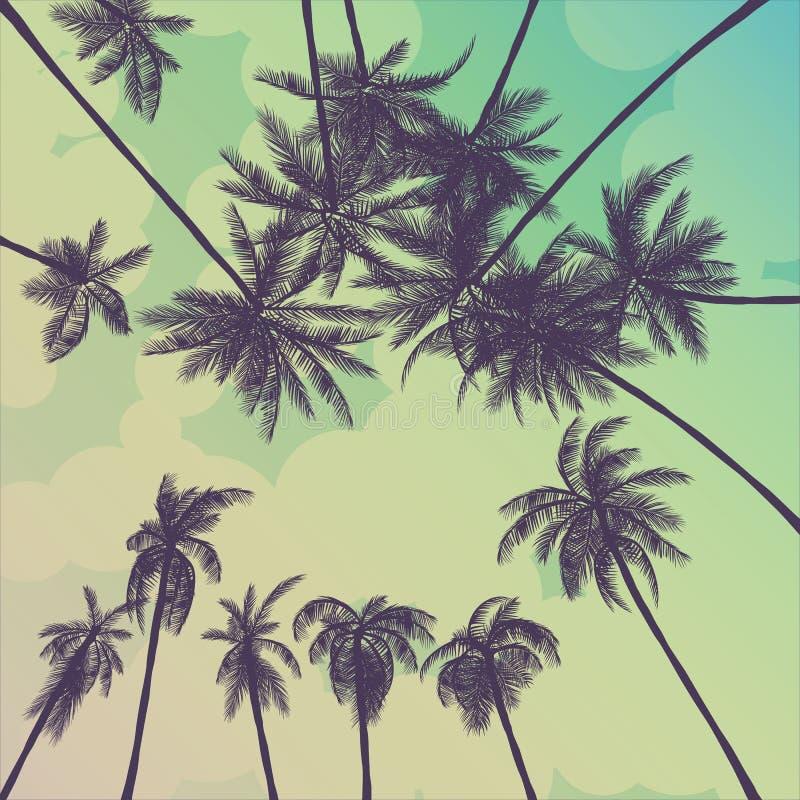 Sylwetki drzewko palmowe w płaskim ikona projekcie przy zmierzchem z rocznika filtra tła wektorem ilustracji