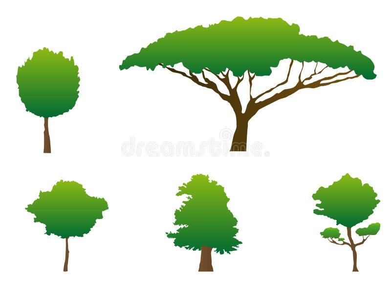 sylwetki drzewne ilustracja wektor