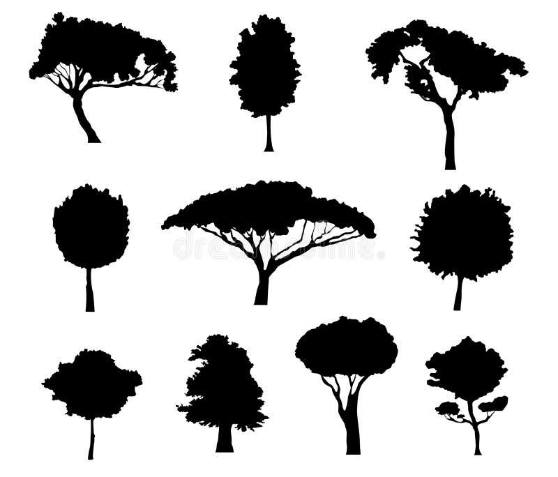 sylwetki drzewne royalty ilustracja