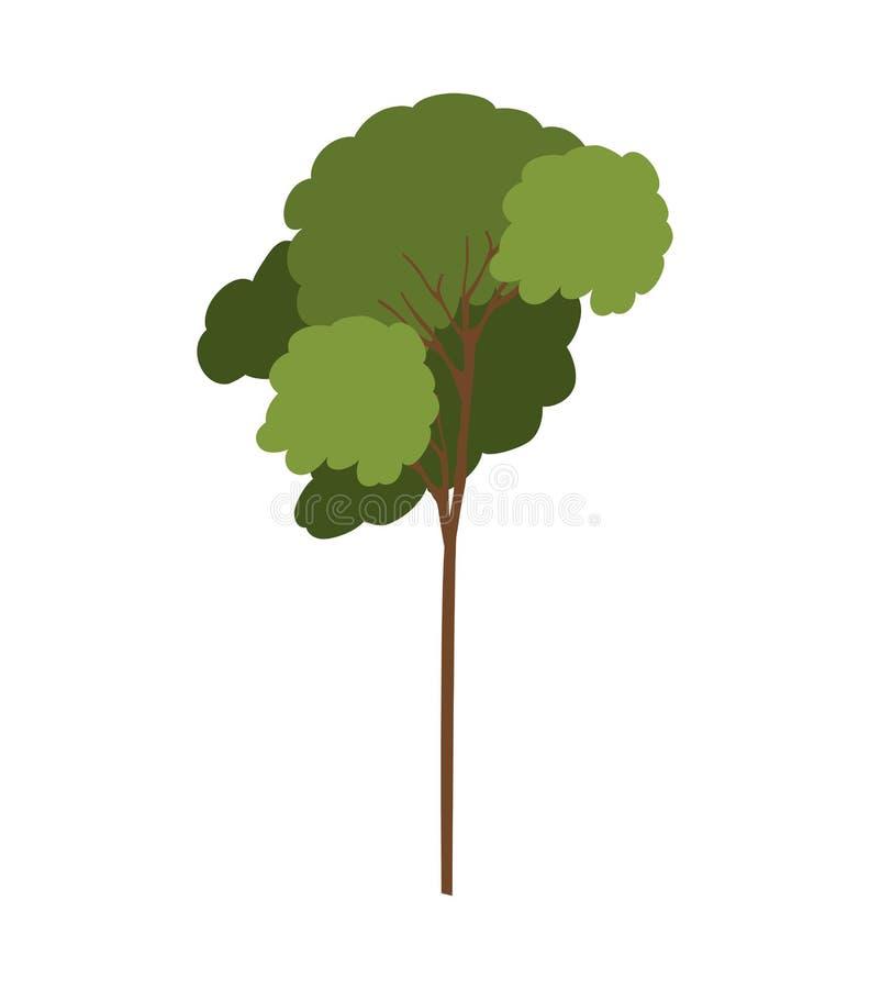 Sylwetki drzewo z obfitolistnym gałąź modelem cztery ilustracji