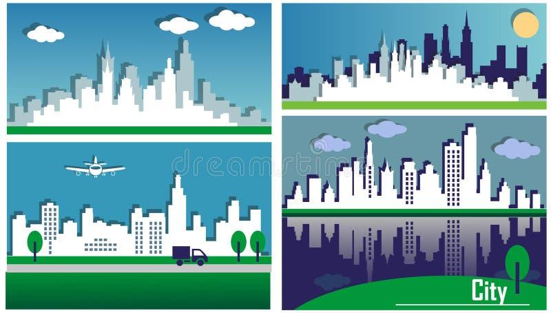 Sylwetki duzi miasta ilustracja wektor