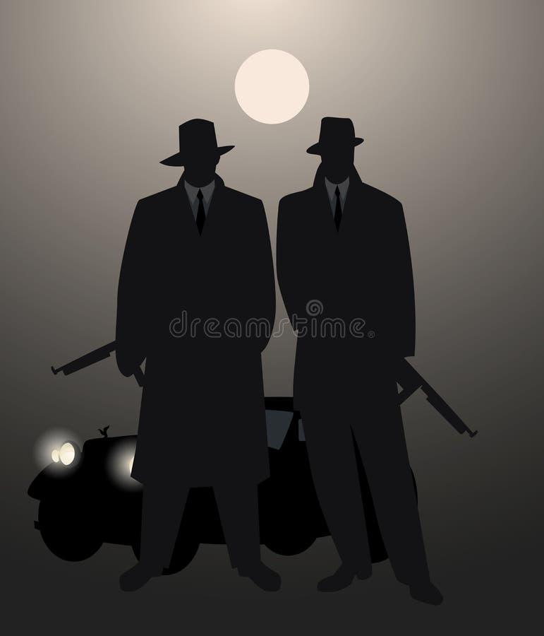 Sylwetki dwa mężczyzna z maszynowym pistoletem i retro samochodem pod księżyc na tle royalty ilustracja