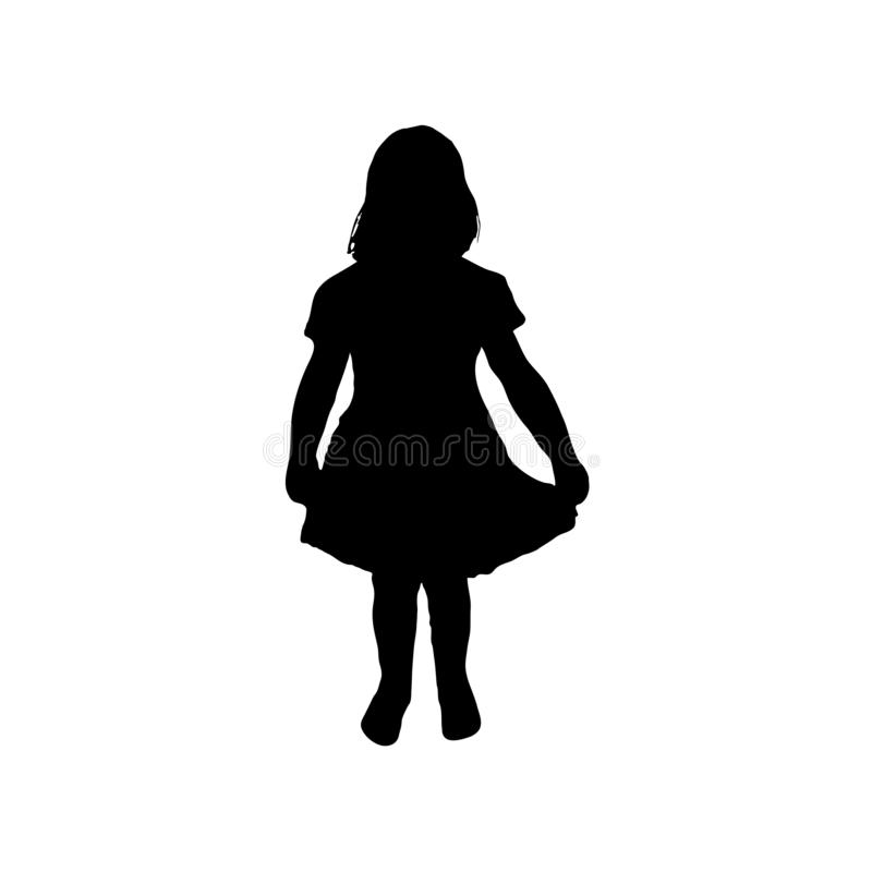 Sylwetki dziecko, niemowlak dziewczyny pozycja, wektor mała dziewczyny ikona royalty ilustracja