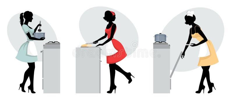 Sylwetki dziewczyn gotować ilustracji