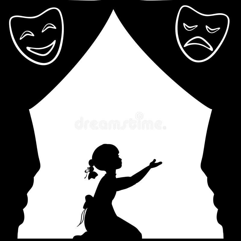 Sylwetki dziewczyna bawić się scenę Światowy Theatre dzień ilustracji