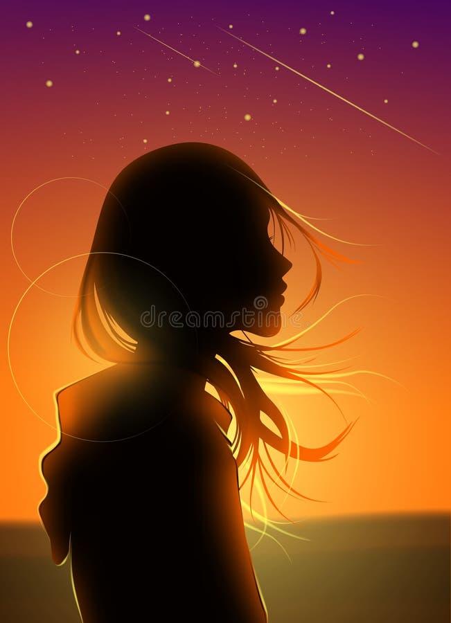 Sylwetki dziewczyna w Mknącej gwiazdy grafice fotografia royalty free