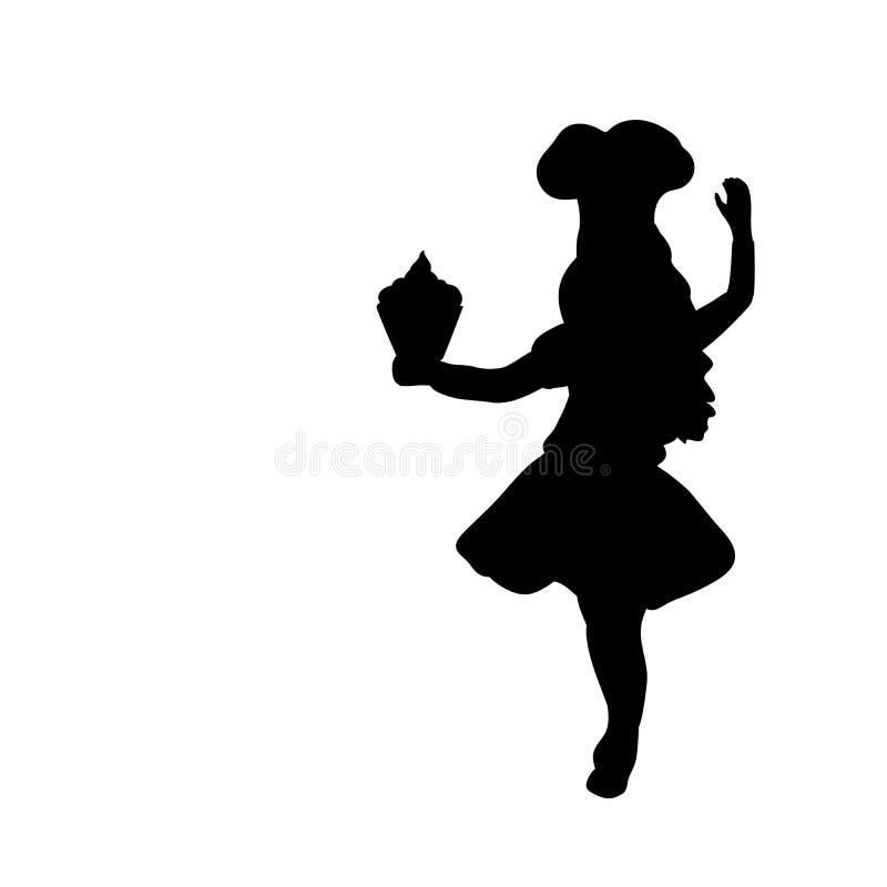 Sylwetki dziewczyny kucharz Międzynarodowy szefa kuchni dzień ilustracji