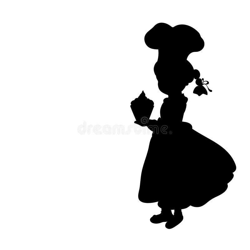Sylwetki dziewczyny kucharz Międzynarodowy szefa kuchni dzień royalty ilustracja