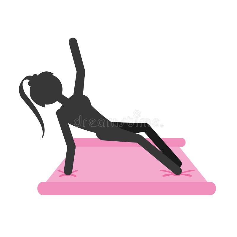 Sylwetki dziewczyny treningu sprawności fizycznej gym na ochraniaczu ilustracji