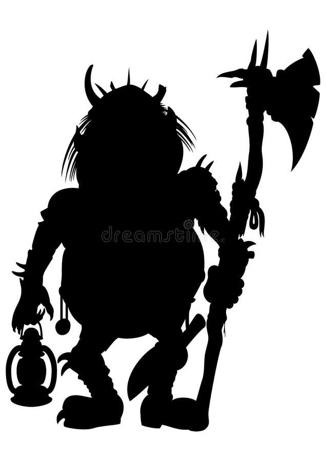 Sylwetki dziwożona z cioską i lampionem ilustracja wektor