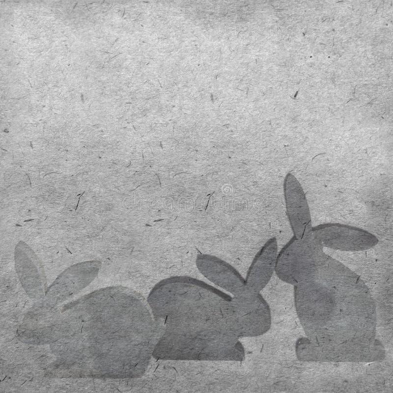 Sylwetki Easter zając na rocznika tle zdjęcie royalty free