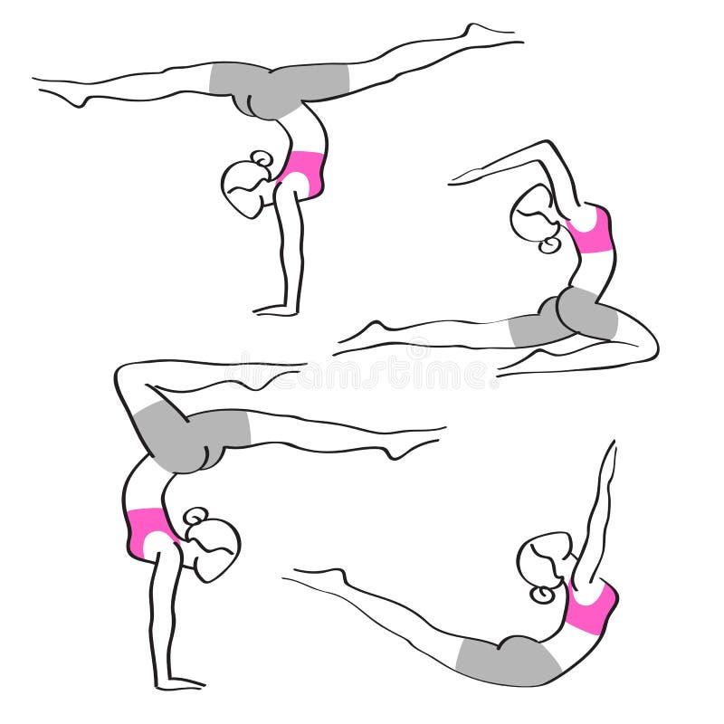 Sylwetki elegancka kobieta w joga pozach ilustracji