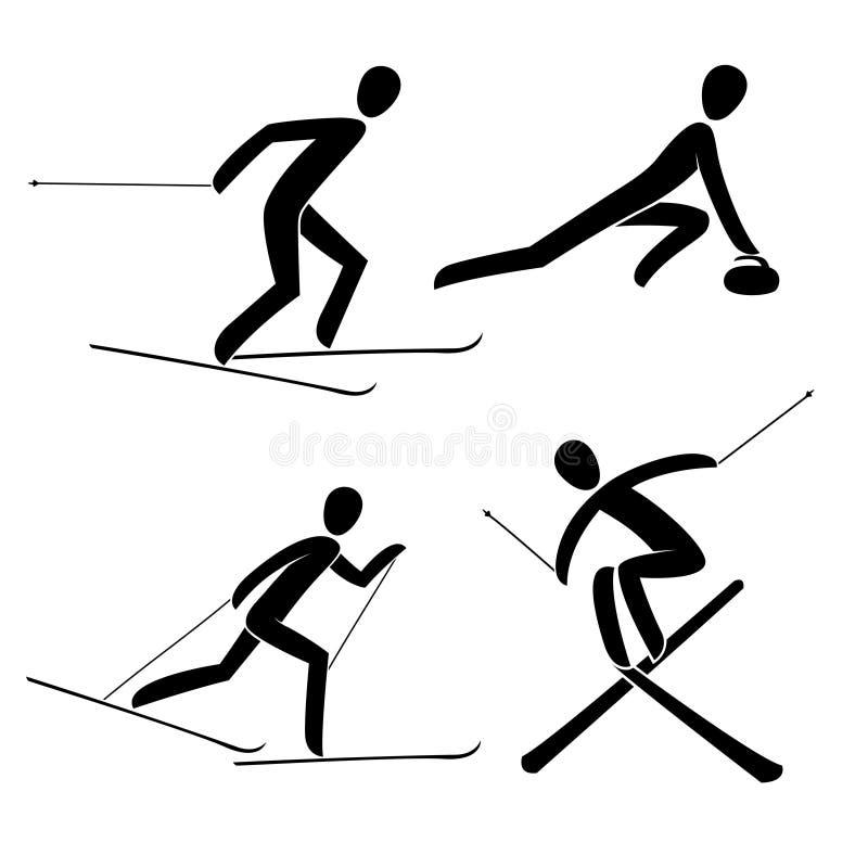 Sylwetki fryzowanie, ścigający się, wysokogórski stylu wolnego narciarstwo odizolowywał ilustrację ilustracja wektor