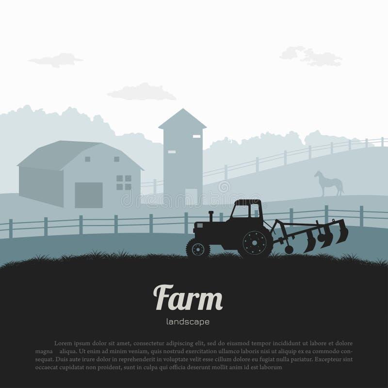Sylwetki gospodarstwo rolne krajobraz Wiejska panorama runch z ciągnikiem Wioski sceneria dla plakata Rolnika koń i dom royalty ilustracja
