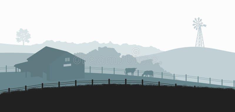 Sylwetki gospodarstwo rolne krajobraz Wiejska panorama runch z krową na łące Wioski sceneria dla plakata Rolnika dom ilustracja wektor