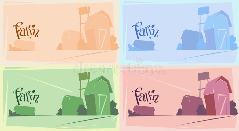 Sylwetki gospodarstwo rolne Z domem, ziemi uprawnej wsi krajobraz royalty ilustracja