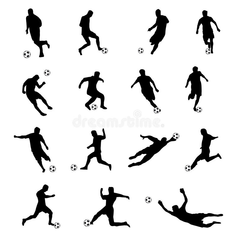 Sylwetki gracze futbolu ilustracji
