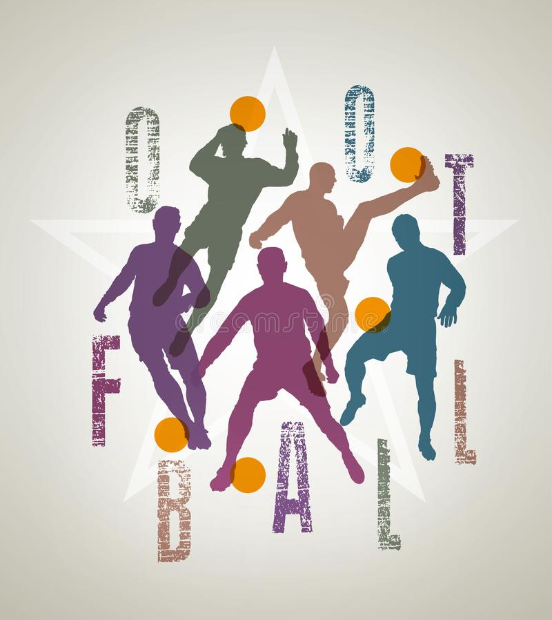 Sylwetki gracze piłki nożnej wśrodku futbolowego literowania ilustracji