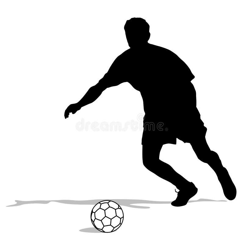 Sylwetki gracze piłki nożnej z piłką ilustracji