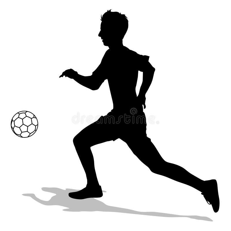 Sylwetki gracze piłki nożnej z piłką ilustracja wektor
