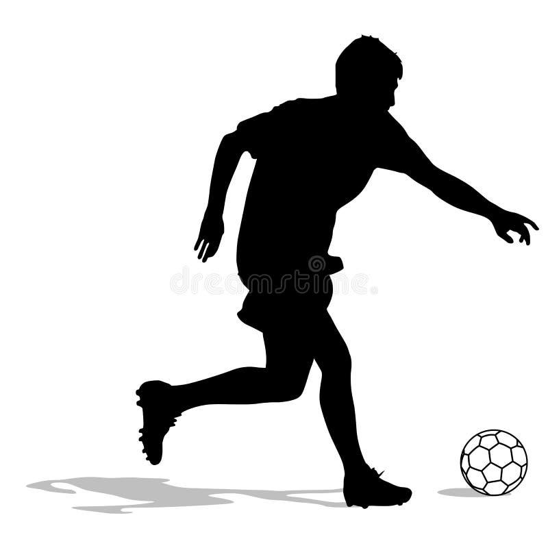Sylwetki gracze piłki nożnej z piłką royalty ilustracja