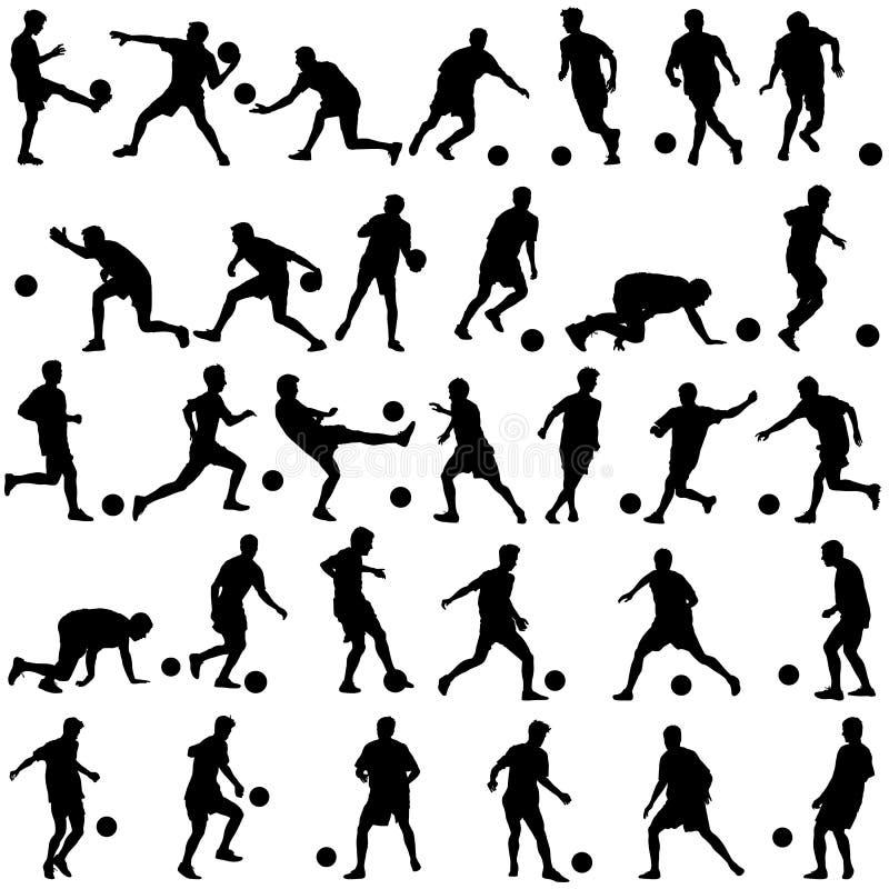 Sylwetki gracze piłki nożnej z piłką również zwrócić corel ilustracji wektora royalty ilustracja