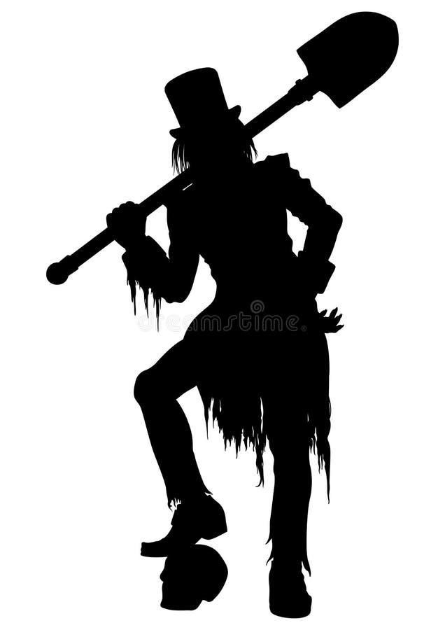 Sylwetki Gravedigger z łopatą royalty ilustracja