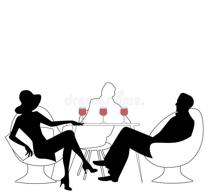 Sylwetki grupa trzy pije czerwone wino ilustracja wektor