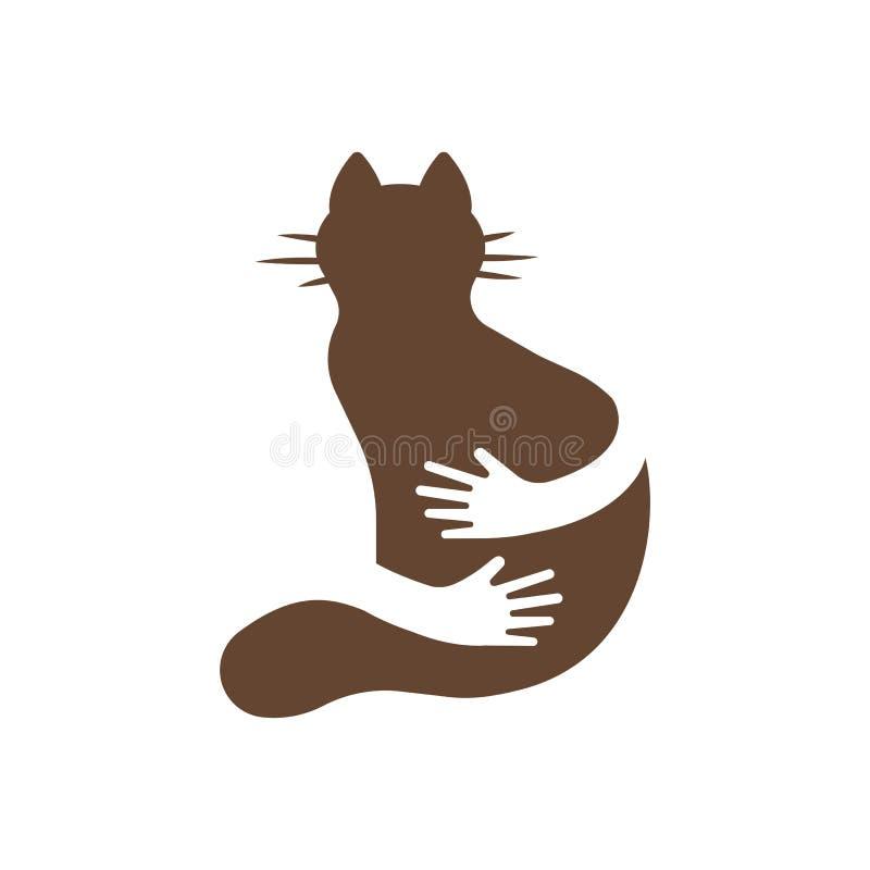 Sylwetki ikona kot i ręki uściśnięcie Ludzka i zwierzęca przyjaźń ilustracji
