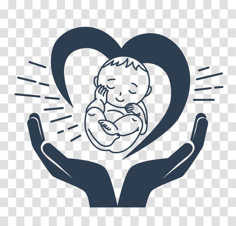 Sylwetki ikona narodziny dziecko ilustracja wektor
