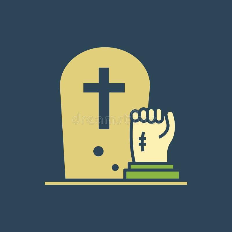 Sylwetki ikony zwłoki wzrastał od grób royalty ilustracja